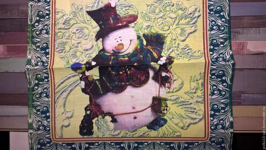 Салфетка  лён 100%. Снеговик. 45х45 см.