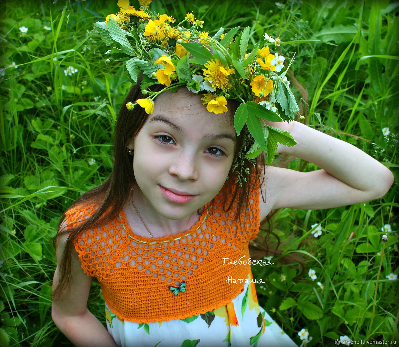 Clothes for Girls handmade. Livemaster - handmade. Buy Crochet yoke for dress.Cotton, stylish kiddies