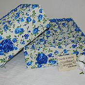 """Корзины ручной работы. Ярмарка Мастеров - ручная работа Органайзеры для нижнего белья """"Синие розы"""". Handmade."""