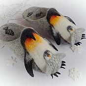 Обувь ручной работы. Ярмарка Мастеров - ручная работа Пингвины. Тапочки-шлёпки шерстяные цельноваляные.. Handmade.