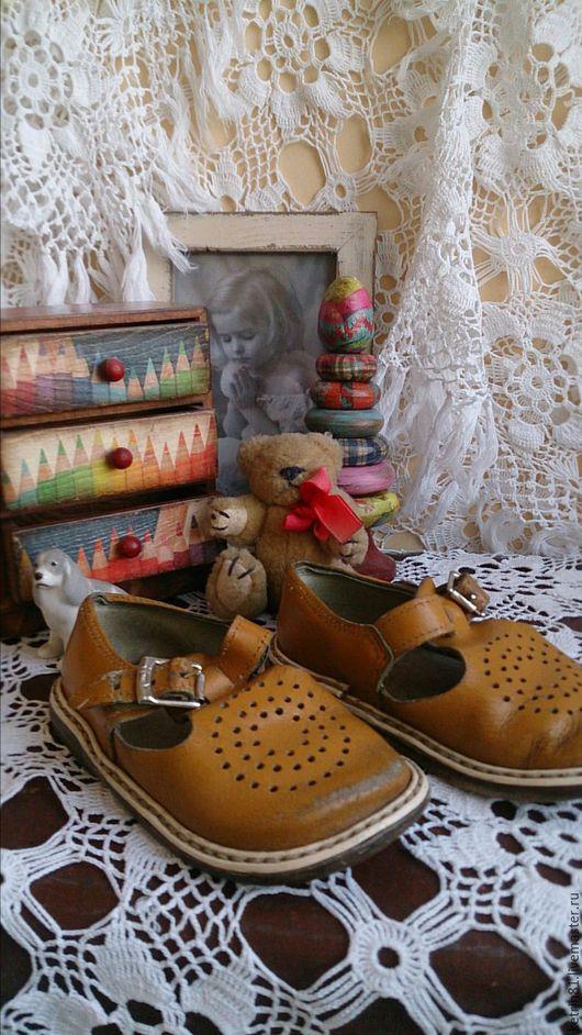 Винтажная обувь. Ярмарка Мастеров - ручная работа. Купить Старые Детские сандалики (горчичка). Handmade. Оранжевый, обувь для кукол