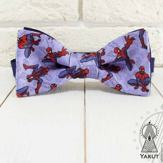 Галстуки, бабочки ручной работы. Ярмарка Мастеров - ручная работа. Купить Галстук бабочка Человек Паук / бабочка-галстук сиреневая супергерои. Handmade.