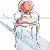 Картины и панно ручной работы. Ярмарка Мастеров - ручная работа Графика Коралловый стул. Handmade.