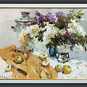 """handmade. Livemaster - original item """"lilacs """". still life painting. Handmade."""