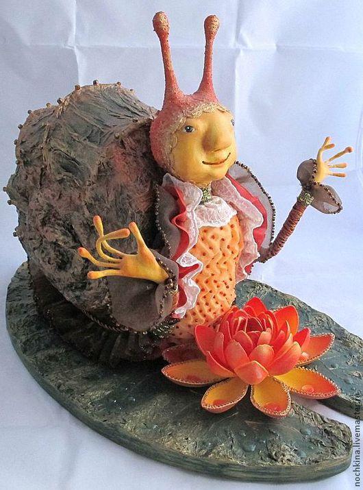 Коллекционные куклы ручной работы. Ярмарка Мастеров - ручная работа. Купить ДОБРОЕ УТРО. Handmade. Оранжевый, авторская кукла, пруд