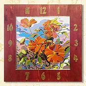 Часы классические ручной работы. Ярмарка Мастеров - ручная работа Настенные часы с цветами Яркие маки в стиле кантри. Handmade.