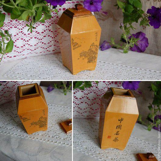 Винтажная посуда. Ярмарка Мастеров - ручная работа. Купить Винтажная японская деревянная чайница. Handmade. Бежевый, Декор, гравировка