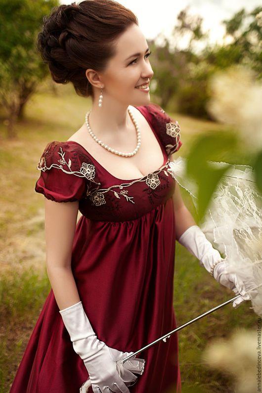 Платья ручной работы. Ярмарка Мастеров - ручная работа. Купить Платье ампир. Handmade. Бордовый, кружево