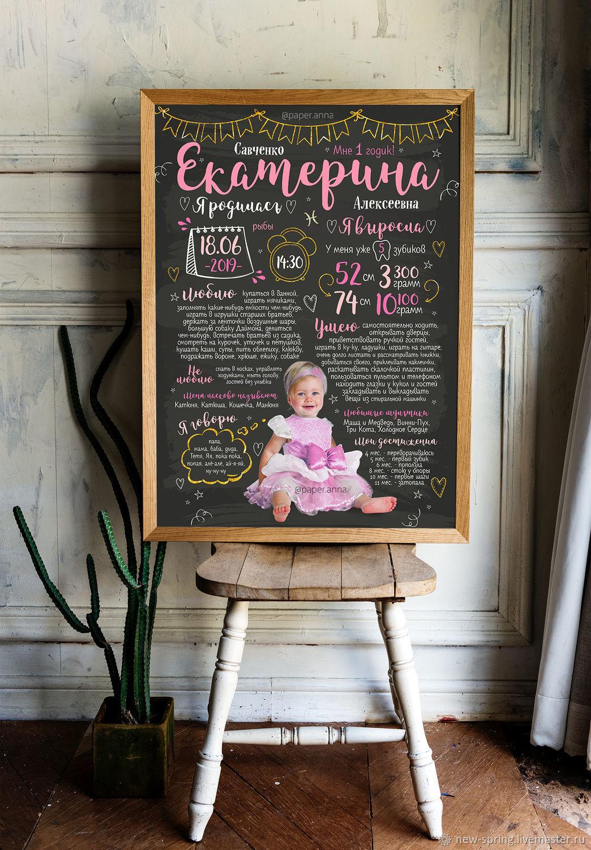 Плакат достижений для девочки на годик в стиле мелодовой доски, Фотокартины, Керчь,  Фото №1