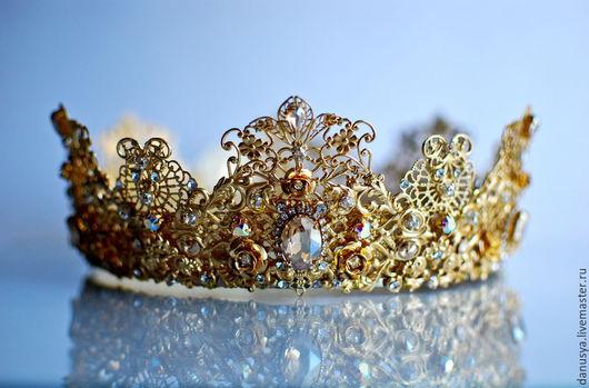 """Диадемы, обручи ручной работы. Ярмарка Мастеров - ручная работа. Купить Свадебная корона """"Golden Rose"""". Handmade. Корона"""