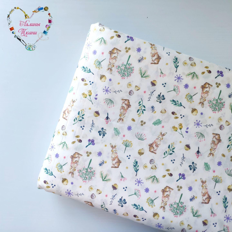 Fabrics Moscow Satin Cotton Provence bunnies on gray, Fabric, Moscow,  Фото №1