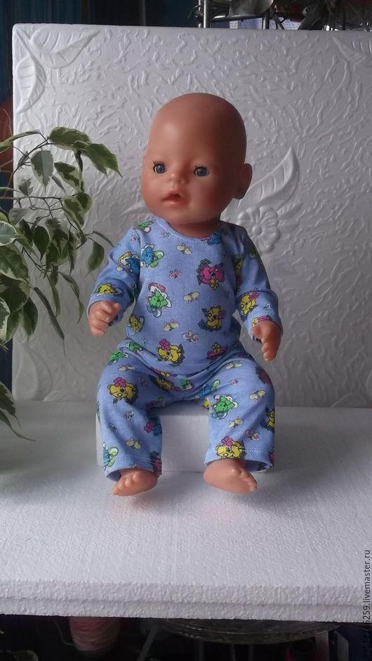 Одежда для кукол ручной работы. Ярмарка Мастеров - ручная работа. Купить Пижамка со слониками для Бебика - мальчика. Handmade. Комбинированный
