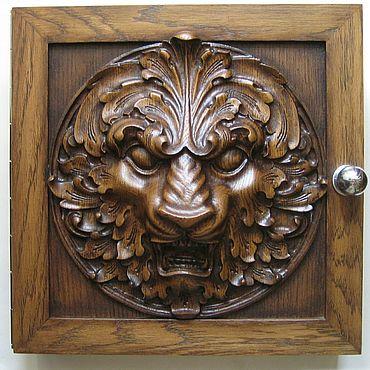 For home and interior handmade. Livemaster - original item Housekeeper carved lion oak. Handmade.