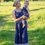 Одежда handmade. Livemaster - original item Linen for mothers and daughters. Handmade.