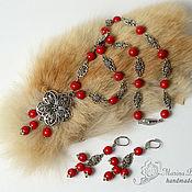 Украшения handmade. Livemaster - original item Necklace and earrings of coral Berry red. Handmade.