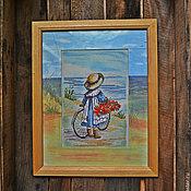 """Для дома и интерьера ручной работы. Ярмарка Мастеров - ручная работа вышитая картина из серии """"Малыши и море"""". Handmade."""
