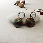 Украшения handmade. Livemaster - original item Delicate earrings with copper disk Earrings on every day. Handmade.