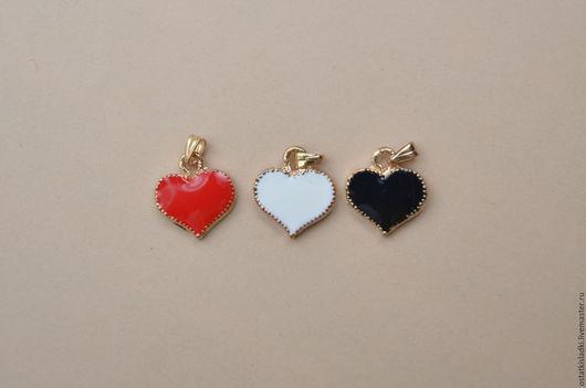 """Для украшений ручной работы. Ярмарка Мастеров - ручная работа. Купить 3шт, Набор подвесок """"Сердечки"""", золотистые, эмаль 3 цвета. Handmade."""