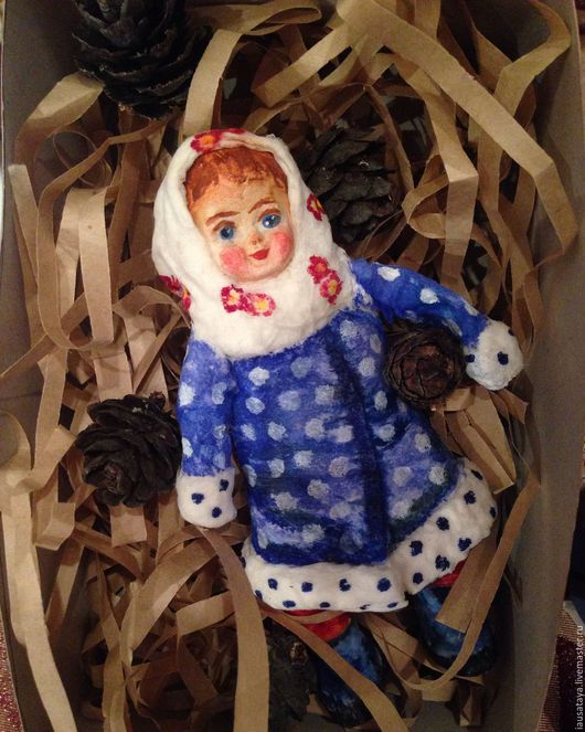 Коллекционные куклы ручной работы. Ярмарка Мастеров - ручная работа. Купить Новогодняя елочная игрушка. Handmade. Ярко-красный, лимонный