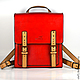 Рюкзаки ручной работы. Ярмарка Мастеров - ручная работа. Купить Кожаный рюкзак Ранец. Handmade. Разноцветный, сумка для планшета, подарок