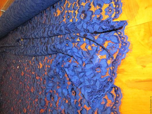 Шитье ручной работы. Ярмарка Мастеров - ручная работа. Купить Кружево Carolina Herrera васильковый  цвет. Handmade. Тёмно-синий