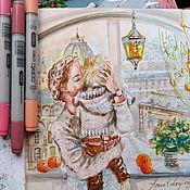 Картины и панно handmade. Livemaster - original item St. Petersburg morning-picture on paper. Handmade.