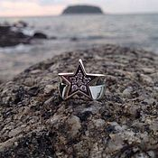 Украшения handmade. Livemaster - original item Ring of a star from silver 925 with white zircons. Handmade.