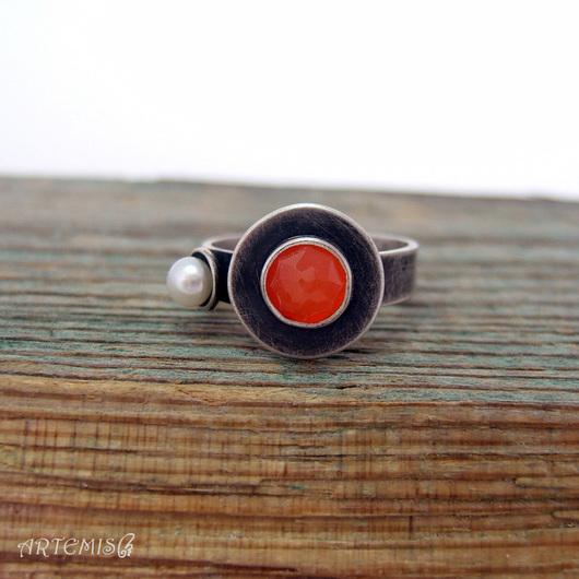 """Кольца ручной работы. Ярмарка Мастеров - ручная работа. Купить Серебряное кольцо """"Осень"""". Handmade. Рыжий, листопад, карнеол"""