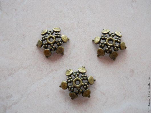 Для украшений ручной работы. Ярмарка Мастеров - ручная работа. Купить 10 шт Шапочки для бусин 11 мм под бронзу. Handmade.