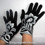 Аксессуары handmade. Livemaster - original item Gloves felted with painting. Handmade.