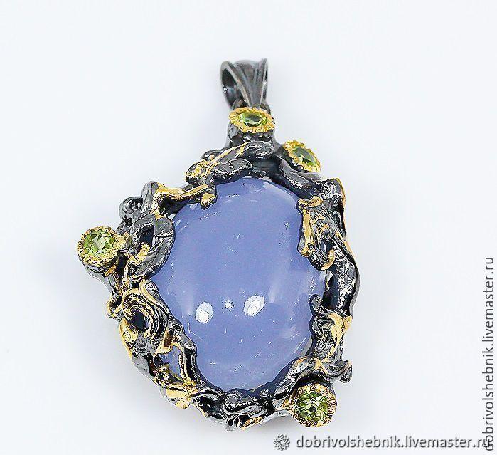 Pendant 'Living water', and sapphirine (blue chalcedony), Pendants, Novaya Usman,  Фото №1