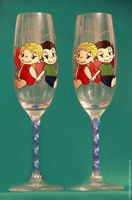 """Оригинальные бокалы для влюбленных, подходят для свадебного торжества, а также являются отличным подарком любимому человеку! Можно заказать любой рисунок из любимой серии детства """"Love is...&amp"""