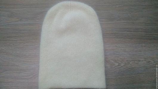 Шапки ручной работы. Ярмарка Мастеров - ручная работа. Купить Двойная шапка бини из ангоры(кролик). Handmade. Белый, шапка бини