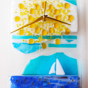 For home and interior handmade. Livemaster - original item Watch: Seascape, glass, fusing. Handmade.