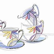 Картины и панно handmade. Livemaster - original item Graphics Floral tea party. Handmade.