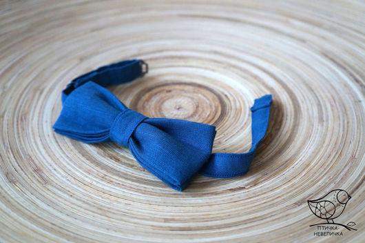 Галстуки, бабочки ручной работы. Ярмарка Мастеров - ручная работа. Купить галстук-бабочка из льняной ткани синяя. Handmade.