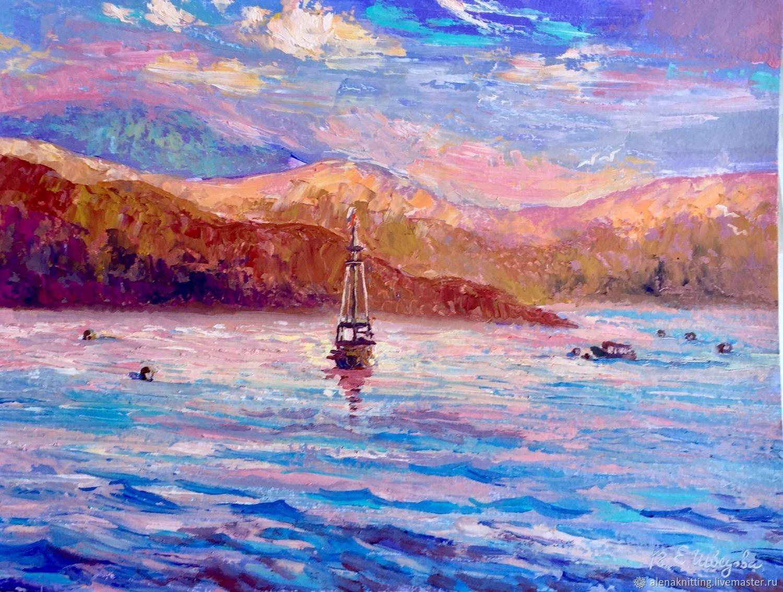 Elena Shvedova oil Painting `Bright morning.Crimea` ( art. oil on cardboard) 30h40, 2018 unframed.