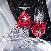 """Свадебный салон ручной работы. Ярмарка Мастеров - ручная работа Бокалы свадебные - """"алая роза"""". Handmade."""