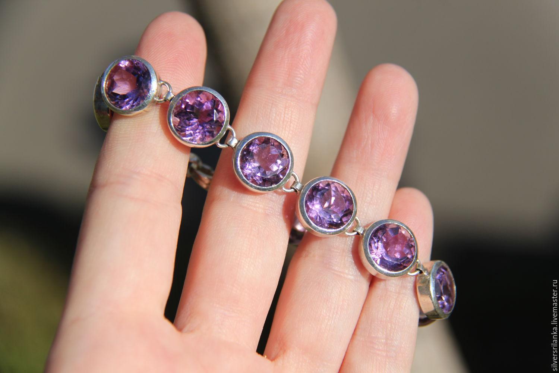 Купить браслет с аметистом из серебра