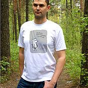 Одежда handmade. Livemaster - original item Men`s t-shirt Want to be strong, rock, white t-shirt. Handmade.