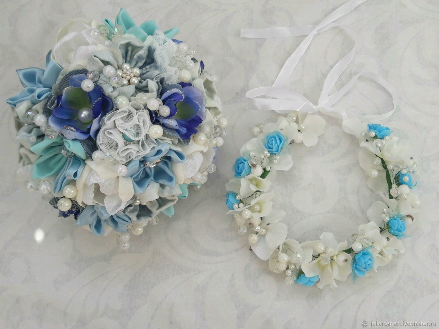 Blue And White Brooch Bouquet Made From Beads And Pearls Bouquet