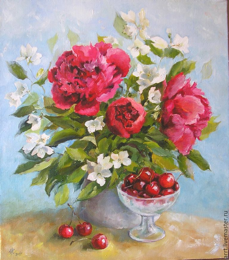 Peonies and red cherry oil Painting 35h40cm, Pictures, St. Petersburg,  Фото №1