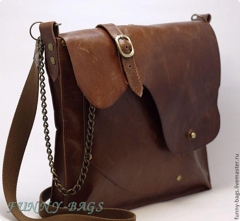 Мужские сумки ручной работы. Ярмарка Мастеров - ручная работа. Купить  Мужская кожаная сумка. 43f04b2109700