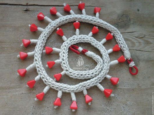 Колье, бусы ручной работы. Ярмарка Мастеров - ручная работа. Купить Колье текстильное бохо  Масленица. Handmade. Красные бусы
