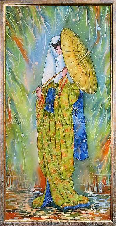 """Люди, ручной работы. Ярмарка Мастеров - ручная работа. Купить Картина """"Девушка с золотым зонтиком"""" батик. Handmade. Батик"""