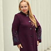 "Одежда handmade. Livemaster - original item Knitted coat ""Royal Cape"" in plum color. Handmade."