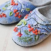 """Обувь ручной работы. Ярмарка Мастеров - ручная работа Валяные тапочки"""" Первый  снег"""". Handmade."""