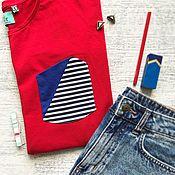 Одежда handmade. Livemaster - original item Longsleeve loose asymmetric red stripe. Handmade.