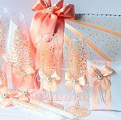 Свадебный салон ручной работы. Ярмарка Мастеров - ручная работа Персиковое кружево - набор аксессуаров на свадьбу. Handmade.