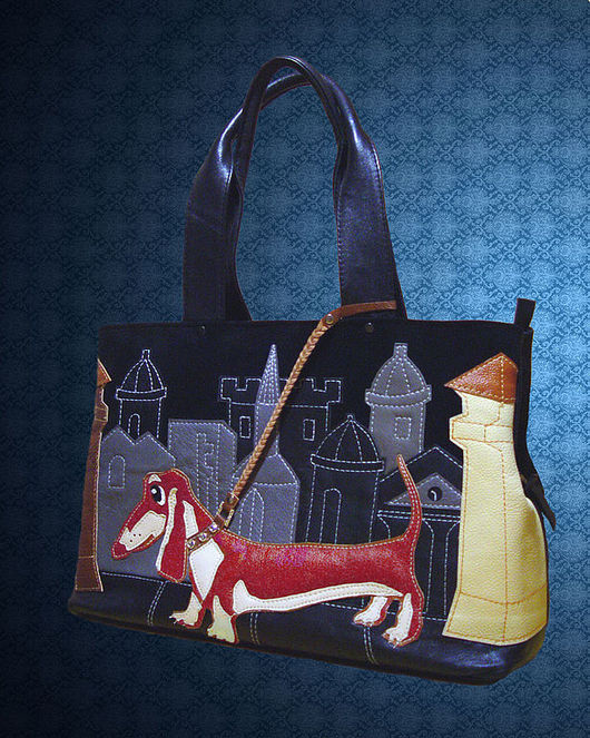 Handbags handmade. Livemaster - handmade. Buy Leather bag 'Red Dachshund' 3 division..Dachshund, the skin natural